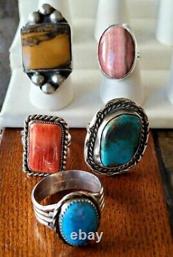 Vintage Antique Navajo Native Sterling Southwest Style Turquoise RING Lot of 12
