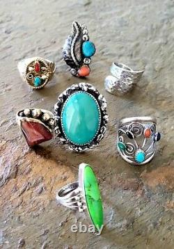 Vintage Antique Navajo Native Sterling Southwest Style Turquoise RING Lot of 7