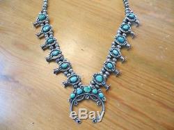 Vintage Antique Navajo Turquoise Rare Unique Squash Blossom Necklace 135.5 Gr