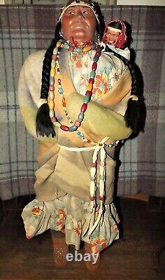 Vintage Antique large Skookum 33 Store Display Native American Indian Doll