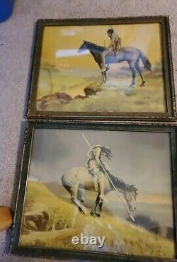 Vintage Art Deco Native American Print lot of 2