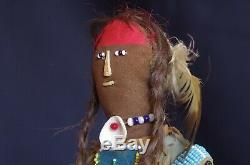 Vintage Beaded doll with human hair Lakota Sioux Native American
