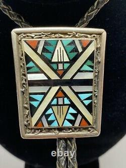 Vintage Belt Buckle & Bolo Set Sterling Silver Native American DV Eriacho Zuni