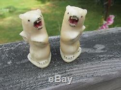 Vintage Carved Bovine Bone Inuit Eskimo Alaska Polar Bear Salt Pepper Shakers
