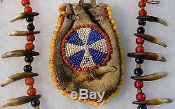 Vintage Coyote Teeth Necklace with Beaded Medicine bag