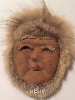 Vintage Eskimo Inuit Alaska Caribou Skin & Fur Masks, Man & Woman