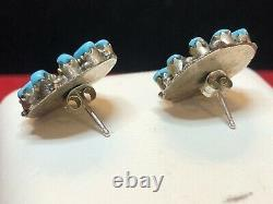 Vintage Estate Sterling Silver Native American Turquoise Earrings Petite Point
