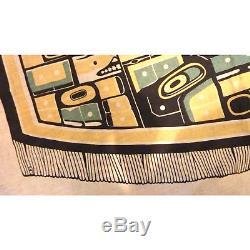 Vintage Haida Tlingit Chilkat Print Cloth Diving Whale Pacific Northwest Coast