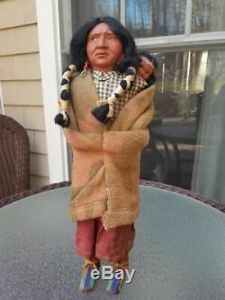 Vintage Indian Skookum Bully Good Doll with Papoose 16