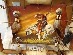 Vintage Native American Art On Leather Hide Signed Custom Rustic Frame