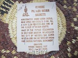 Vintage Native American Indian Papago Tribe AZ Woven Snake Coil Basket NR #2 yqz
