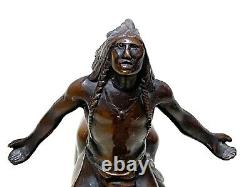 Vintage Native American Indian Riding Horse Bronze Sculpture Statue