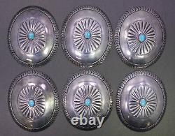 Vintage Native American Indian Sterling Silver & Turquoise Belt Concho Set of 6