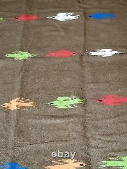 Vintage Native American Indian Trade Camp Blanket Wool Fringe Colorful Birds