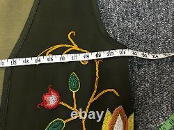 Vintage Native American Tribal Ojibwe Bead Floral Beaded Vest Size Large