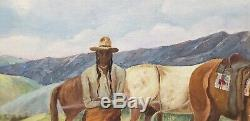 Vintage Native American West Oil Painting Lunch Time by William Metter c. 1940s
