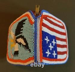 Vintage Native American Yakama 2 Sided Fully Beaded Wallet Eagle & U. S. Flag