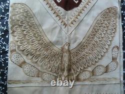 Vintage Native American western Navajo burnt suede leather poncho