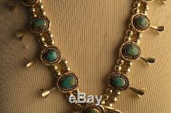 Vintage Navajo Native American Squash Blossom Necklace Turquoise Sterling Silver
