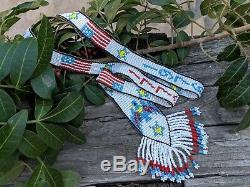 Vintage Navajo Necklace RARE 1970's Patriotic Heishi Beads Native American Art