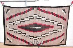 Vintage Navajo Rug Native American Indian Weaving Textile 61x38 Antique Ganado