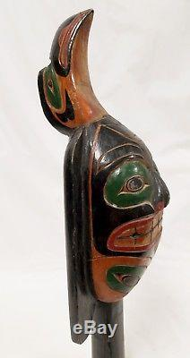 Vintage Pacific Northwest Coast Native American Indian Raven Rattle