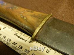 Vintage Plains Indian Dagger Knife Forged Blade HB Marked 1800's
