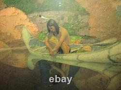 Vintage Print Phantom Canyon Native American In Canoe Robert Wesley Amick