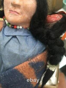 Vintage Skookum Native American Indian Doll Woman Squaw with Baby Bully In Box