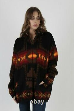 Vintage Southwestern Knit Coat Bright Aztec Native American Hooded Black Jacket