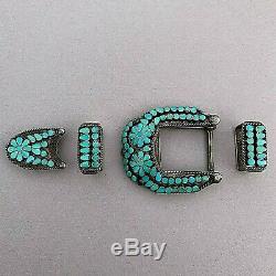 Vintage Virgil Dishta Zuni Native American Turquoise Sterling Silver Belt Set