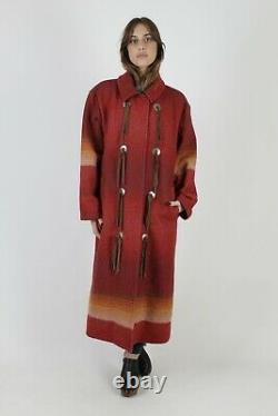 Vintage Woolrich Duster Coat Southwestern Aztec Blanket Native American Jacket