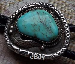 Vintage / antique Navajo sleeping beauty turquoise Sterling Silver bolo tie