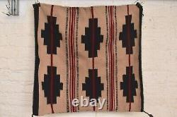 Vintage native american textile weaving Navajo indian rug 27x26 Antique striped