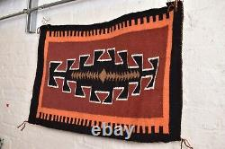 Vintage native american textile weaving Navajo indian rug 29x20 antique Diamond