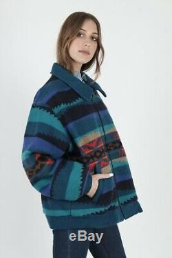 Vtg 80s Pendleton Jacket Native American Southwest Turquoise Wool Blanket Coat