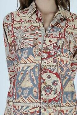 Vtg 80s Ralph Lauren Country Shirt Southwestern Native American Polo Button Up