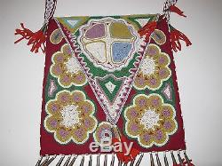 Vtg Antique Native American Indian Flower Beaded Bag Tote Beadwork Purse 1970's