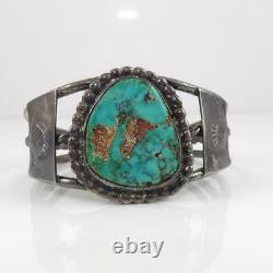 Vtg Antique Native American Sterling Silver Blue Turquoise Cuff Bracelet LHA5