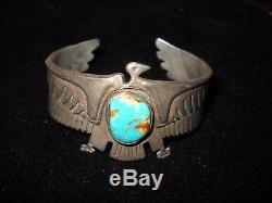 Vtg Antique Navajo Sterling Thunderbird Cuff Bracelet Royston Turquoise-56gm