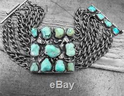 Vtg Antique Old Dead Pawn Navajo Turquoise Cluster HUGE Wide Link Chain Bracelet