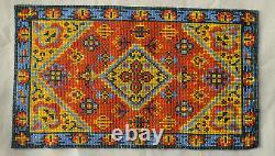 Vtg Dollhouse Miniature Artisan Carpet Rug Micro Bead Native American Design