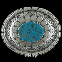 Vtg Sterling Silver Pawn Turquoise Stamped Native American Art Belt Buckle 93g