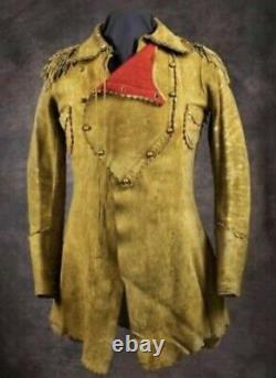 WOMENS Native American Buckskin Cow Suede Leather Fringe Jacket Bones Braid