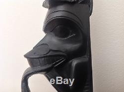 Well Carved Large 1950s Northwest Coast Argillite Totem Pole by Rufus Moody