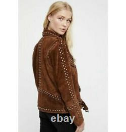 Women Western Suede Leather Jacket Free People Studded Easy NATIVE AMERICAN