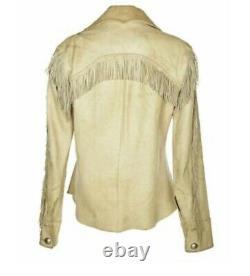 Womens Native American Cream Leather Fringe Shirt