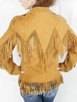 Womens Native American Fringed Style Suede Leather Coat Ladies Western Wear New