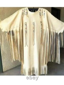 Womens Native Wear Suede Leather Fringes Jacket Native American War Shirt