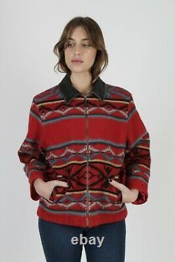 Womens Pendleton Suede Collar Coat Native American Aztec Wool Western Jacket